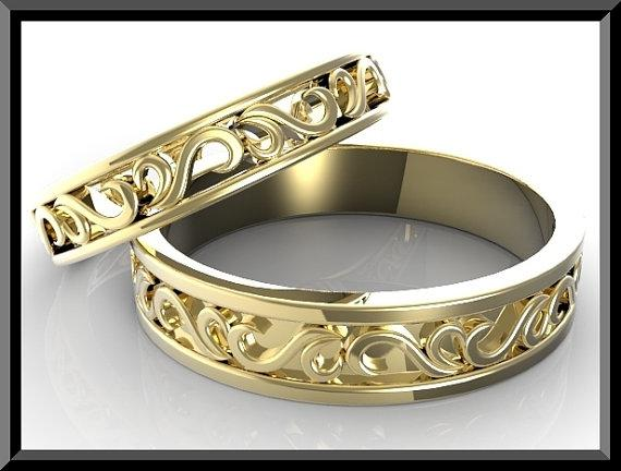 ON SALE Stunning His And Hers 14K Yellow Gold Matching Wedding Bands Set