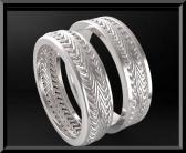 ON SALE Stunning His And Hers 14K White Gold Matching Wedding Bands Set