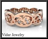 ON SALE Beautiful 14k Rose Gold Leaf Woman Wedding Ring