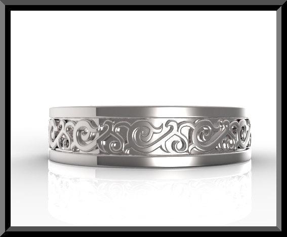 ON SALE Statement 14k White Gold Man Wedding Ring