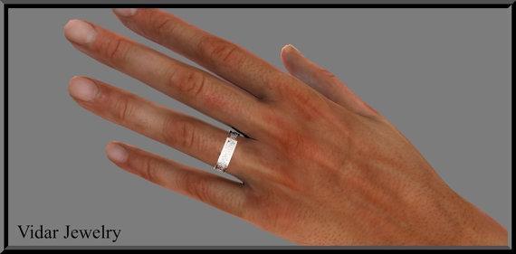 ON SALE 14k White Gold Lotus Flower Man Wedding Ring