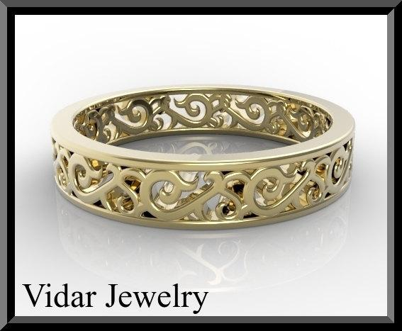 ON SALE Unique 14kt Yellow Gold Woman Wedding Ring