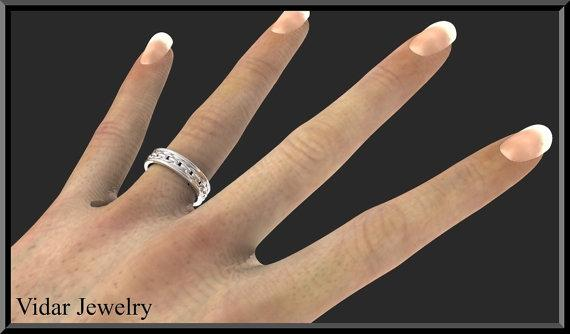 ON SALE Classic And Elegant 14kt White Gold Woman Wedding Ring
