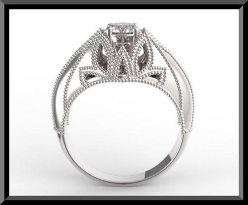 ON SALE Unique White Gold Topaz Engagement Ring