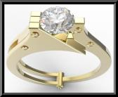 ON SALE 14k Yellow Gold Handcuffs Engagmenet Ring With White Sapphire