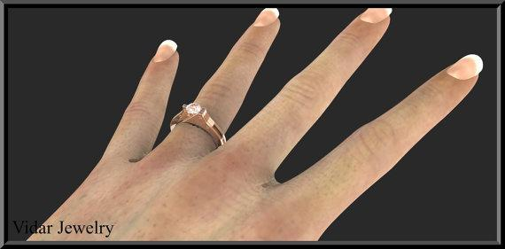 ON SALE 14k Rose Gold Handcuffs Engagmenet Ring With Pink Morganite