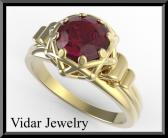 ON SALE Elegant 14k Yellow Gold Ruby Engagement Ring