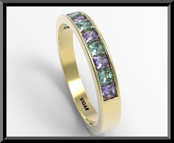 ON SALE Blue Sapphire And Green Emerald 14k Yellow Gold Women Wedding Ring