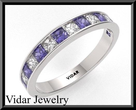 ON SALE Blue And White Sapphire 14k White Gold Women Wedding Ring