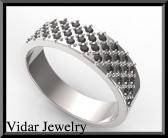 ON SALE Elegant Black Diamond 14k White Gold Men Wedding Ring