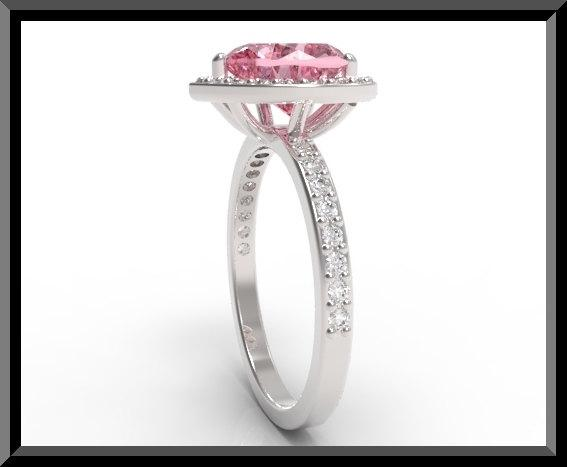 ON SALE Pink Sapphire And Diamond 14k White Gold Heart Engagement Ring