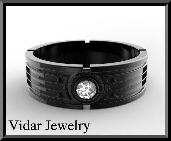 ON SALE Star Wars 14k Black Gold Diamond Men Wedding Ring