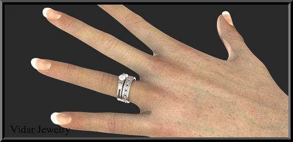 ON SALE Sapphire Handcuff 14k White Gold Wedding Ring And Engagement Ring Set