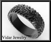 ON SALE Black Gold Tire Tread Men Wedding Ring