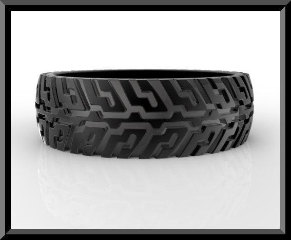 ON SALE Black Gold Tire Tread Men Wedding Ring