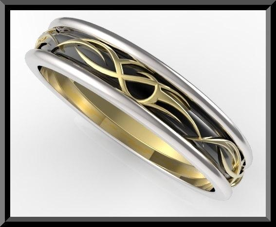 ON SALE Unique 3 Tone Men Wedding Ring