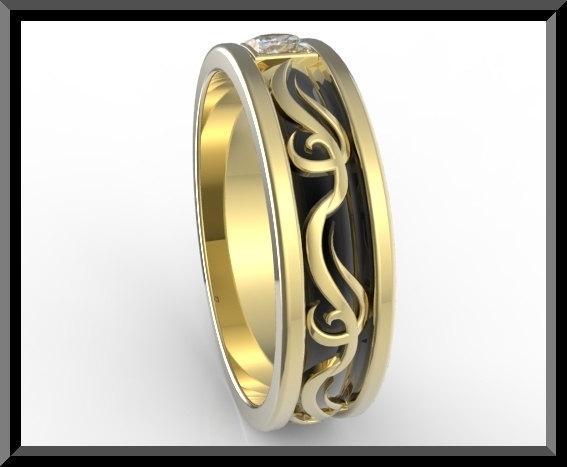 ON SALE 2 Tone Men Wedding Ring