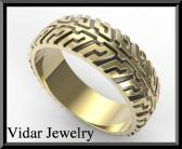 ON SALE Two Tone Gold Tire Tread Men Wedding Ring