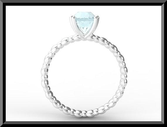 ON SALE Adorable 925 Sterling Silver Aquamarine Engagement Ring