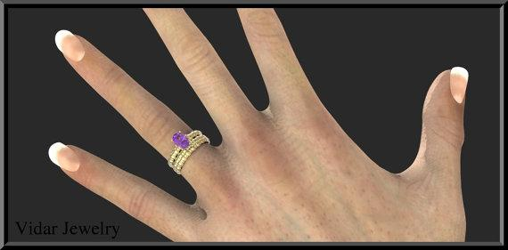 ON SALE Purple Amethyst 14k Yellow Gold Wedding Ring And Engagement Ring Set