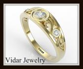 ON SALE Filigree Diamond 14k Yellow Gold Women Wedding ring