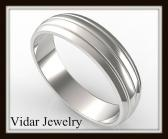 ON SALE Unusual Classic 14k White Gold Men Wedding Ring