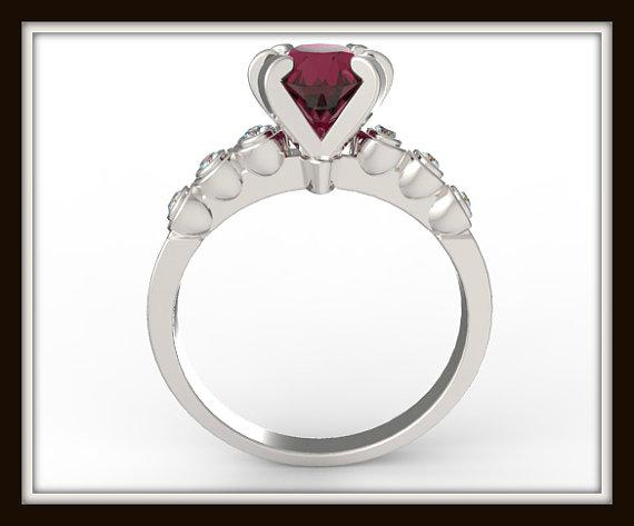 ON SALE Royal Red Ruby 14k White Gold Engagement Ring
