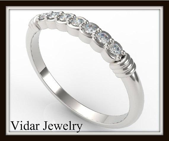 ON SALE Delicate 14k White Gold Diamond Women Wedding Ring