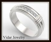 ON SALE Elegant And Beautiful 14k White Gold Diamond Men Wedding Ring