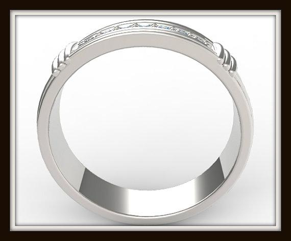ON SALE Elegant And Beautiful 14k White Gold Diamond Men Wedding Ring