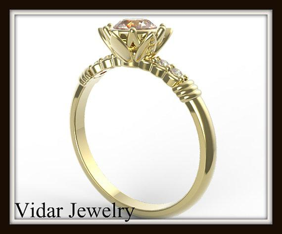 ON SALE Pink Morganite And Diamond 14k Yellow Gold Flower Engagement Ring