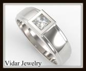 ON SALE Elegant Princess Cut Diamond 14k White Men Wedding Ring