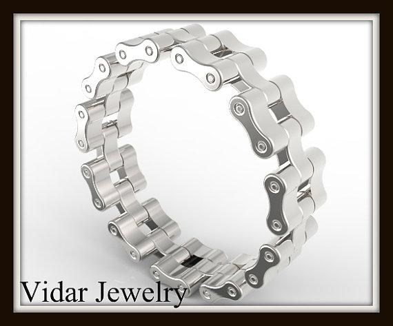 ON SALE Unique Sterling Silver Bike Chain Men Wedding Ring