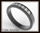 Unique 14k Black Gold Diamond Women Wedding Ring