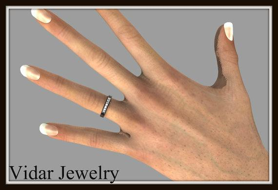 Unique 14k Black Gold Diamond Women Wedding Ring