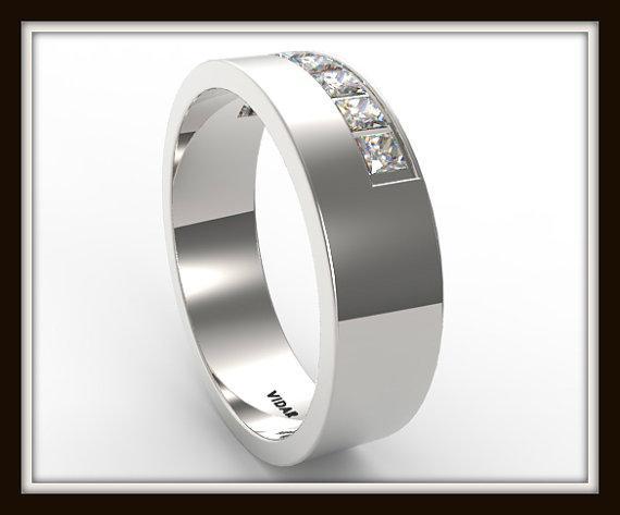 Elegant Princess Cut Diamond 14k White Gold Men Wedding Ring
