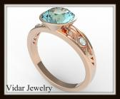 ON SALE Elegant And Unique Blue Aquamarine 14k Rose Gold Engagement Ring