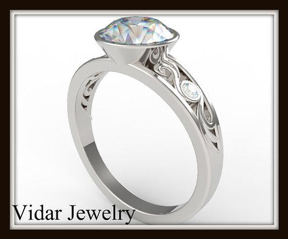 ON SALE Elegant Moissanite And Diamond 14k White Gold Engagement Ring