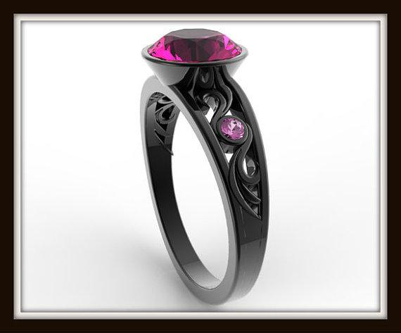ON SALE Elegant And Unique Pink Sapphire 14k Black Gold Engagement Ring