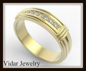 ON SALE Elegant And Beautiful 14k Yellow Gold Diamond Men Wedding Ring