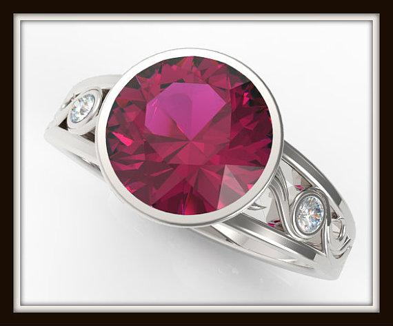 Elegant Red Ruby And Diamond 14k White Gold Engagement Ring