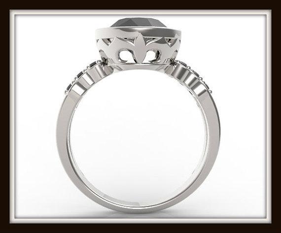 legant Black Diamond 14k White Gold Engagement Ring
