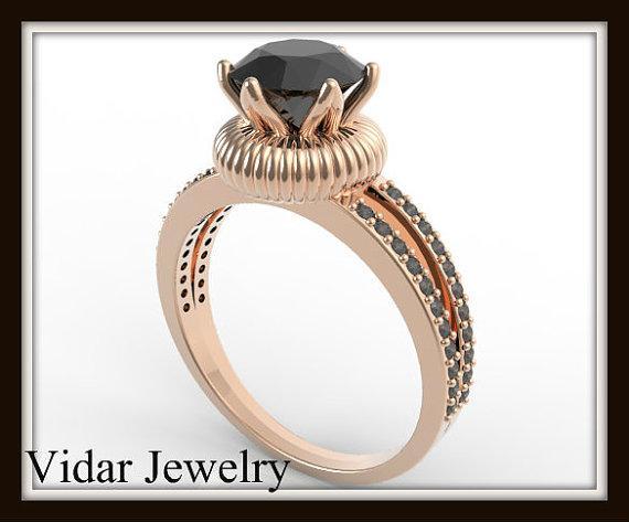 Royal Black Diamond 14k Rose Gold Engagement Ring