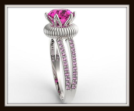 Royal Pink Sapphire 14k White Gold Engagement Ring