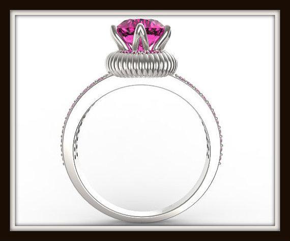 Royal Pink Sapphire 14k White Gold Engagement Ring