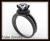 Royal White Sapphire And Diamond 14k Black Gold Engagement Ring