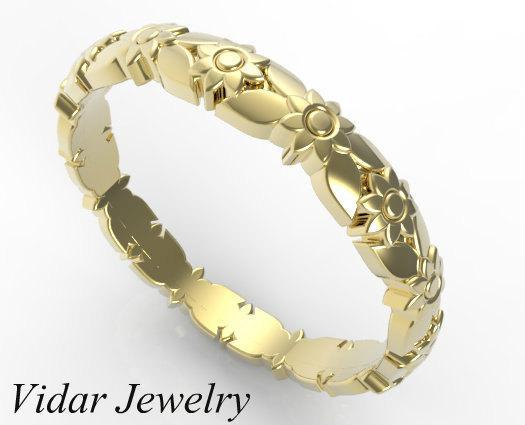 Vintage Flower Engraved 14k Yellow Gold Women Wedding Ring