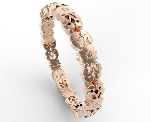 Vintage Flower Engraved 14k Rose Gold Women Wedding Ring