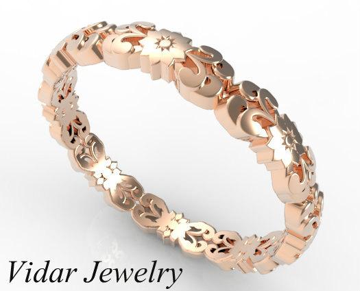 Vintage Flower Engraved 14k Rose Gold Women Wedding Ring on Handmade