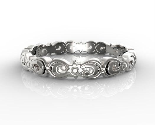 Vintage Flower Engraved 14k White Gold Women Wedding Ring